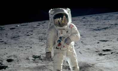 Buzz Aldrin walks on the Moon. 50th anniversary of the Moon landing. Science Museum