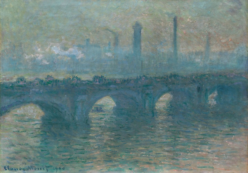 Waterloo Bridge grey weather, Claude Monet